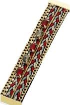 Statement Armband Ibiza Rood/Grijs met Magneetsluiting