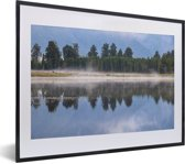 Foto in lijst - Ochtend in het Nationaal park Aoraki/Mount Cook in Nieuw-Zeeland fotolijst zwart met witte passe-partout klein 40x30 cm - Poster in lijst (Wanddecoratie woonkamer / slaapkamer)