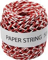 Papierkoord, dikte 1 mm, rood/wit, 50m