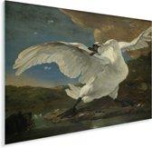 De bedreigde zwaan - Schilderij van Jan Asselijn Plexiglas 160x120 cm - Foto print op Glas (Plexiglas wanddecoratie) XXL / Groot formaat!