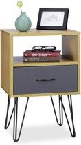 relaxdays retro nachtkastje hoog - bijzetkastje vintage - nachttafel - nachtkast bruin