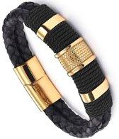Victorious – Zwart Leren Armband – Goudkleurig RVS - Mannen – 21.5cm