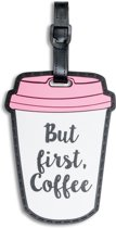 Fabrizio Kofferlabel Coffee 11 X 7,5 Cm Wit/roze