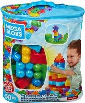 Mega Bloks First Builders 60 Maxi blokken met tas - Blauw