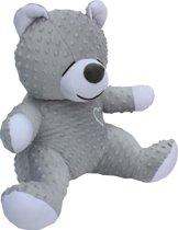 Zoemende teddybeer - slaapknuffel - met witte ruis geluid - circa 45cm - grijs