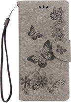Voor Sony Xperia XA1 Pressed Bloemens vlinder patroon horizontaal Flip lederen hoesje met houder & opbergruimte voor pinpassen & portemonnee(grijs)