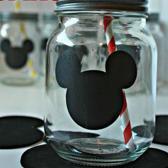 Vel met 88 Zwarte Mickey Mouse stickers - kleine MickeyMouse stickers - veel m.mouse stikkers - 4 x 4,5 Cm x 88 stuks