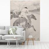 Fotobehang vinyl - Le Jockey - Schilderij van Henri de Toulouse-Lautrec breedte 175 cm x hoogte 260 cm - Foto print op behang (in 7 formaten beschikbaar)