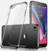 Electroplated Soft TPU Case Cover geschikt voor Apple iPhone 7 / 8  - Transparant/Zwart
