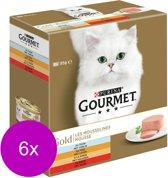 Gourmet Gold Mousse - Rund/Tonijn/Kalkoen - Kattenvoer - 6 x 8 x 85 g