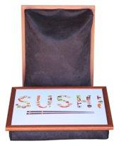 Margot Steel Laptray, schoottafel, schootkussen, laptoptafel, dienblad met kussen Sushi  - 41 x 31 x 10 cm