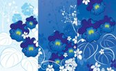 Fotobehang Bloemen | Blauw | 208x146cm