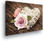 Roses Heart Wood Canvas Print 100cm x 75cm