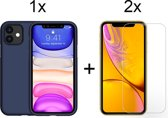 iPhone 11 Hoesje Blauw - Siliconen Case - 2 x Tempered Glass Screenprotector