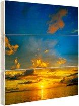 Oranje zonsondergang met blauwe lucht Hout 100x100 cm - Foto print op Hout (Wanddecoratie)