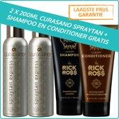Curasano 2 x Spraytan, Tanning Spray, 200ml + Rick Ross Shampoo & Conditioner Set