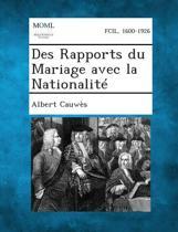 Des Rapports Du Mariage Avec La Nationalite