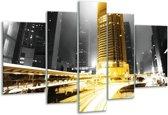 Glasschilderij Steden | Geel, Grijs, Zwart | 170x100cm 5Luik | Foto print op Glas |  F003040
