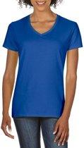 Basic V-hals t-shirt blauw voor dames - Casual shirts - Dameskleding t-shirt blauw XL (42/54)