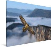 Lammergier vliegt over een berglandschap Canvas 120x80 cm - Foto print op Canvas schilderij (Wanddecoratie woonkamer / slaapkamer)