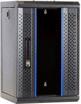 10 inch 9U serverkast met glazen deur 312x310x486mm (BxDxH)