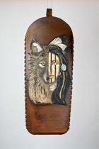 Rugkoker met Native American snijwerk