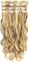 Clip in hairextensions 7 set wavy blond / bruin - P22/10