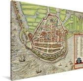 Kleurrijke historische stadskaart van Enkhuizen Canvas - Plattegrond 40x30 cm - klein - Foto print op Canvas schilderij (Wanddecoratie woonkamer / slaapkamer)