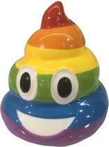 Emoticon spaarpot drol in regenboog kleuren