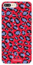 Iphone 8 Plus - TPU Soft Case - Back Cover telefoonhoesje - Leopard / Rood