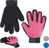relaxdays 2 paar vachtverzorgingshandschoen hond kat - borstel handschoen honden - roze