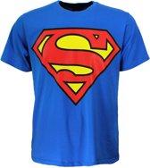 DC Comics Superman Logo T-Shirt Volwassenen Donker en Lichtblauw, Maat:  XL