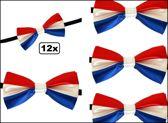 12x Vlinderstrik satijn rood/wit/blauw