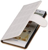 Huawei Honor 3 Wit | Croco bookstyle / book case/ wallet case Hoes  | WN™