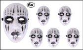 6x Masker hard plastic Mystery zwart wit