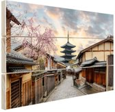 Sannen Zaka Street in Japan Azie Hout 120x80 cm - Foto print op Hout (Wanddecoratie)
