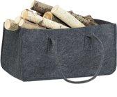 relaxdays houtmand van vilt - haardhout tas - draagtas - vilttas - flexibel - opbergmand antraciet