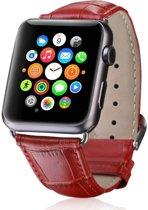 123Watches.nl Leren bandje - Apple Watch Series 1/2/3/4 (38&40mm) - Rood