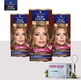 Schwarzkopf Poly Color Creme Haarverf - 36 Middenasblond - 3 Pack Voordeelverpakking - Gratis Haarloop