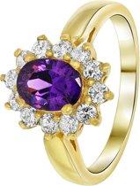 Lucardi - Nouveau Vintage - Goldplated ring amethyst met zirkonia