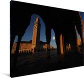 Volle maan boven de Hassan II-moskee in Casablanca Canvas 30x20 cm - klein - Foto print op Canvas schilderij (Wanddecoratie woonkamer / slaapkamer)