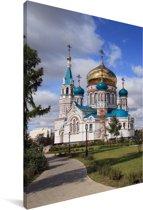De Kathedraal in het Russische Omsk Canvas 90x140 cm - Foto print op Canvas schilderij (Wanddecoratie woonkamer / slaapkamer) / Aziatische steden Canvas Schilderijen