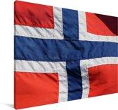 De Noorse vlag Canvas 180x120 cm - Foto print op Canvas schilderij (Wanddecoratie woonkamer / slaapkamer) XXL / Groot formaat!