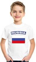 Rusland t-shirt met Russische vlag wit kinderen XS (110-116)