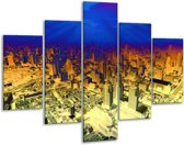 Glasschilderij Steden | Oranje, Blauw, Geel | 100x70cm 5Luik | Foto print op Glas |  F003451