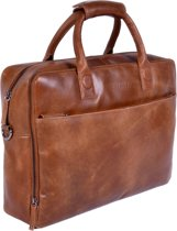 DSTRCT Fletcher November Leren Business Laptoptas - 17,3 inch laptopvak met rits - Sleutelhanger - Cognac