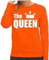 The queen sweater / trui oranje met witte letters en kroon voor dames - Koningsdag - fun tekst truien / Hollandse sweaters 2XL