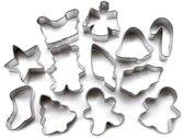 Set van 12 mini metalen uitstekers - kerst - Wilton