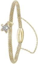 Lucardi - Donna Mae - Stalen armband mesh goldplated ster met kristal