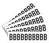 Letter stickers wit/zwart teksthoogte: 25 mm, per kaart letter B